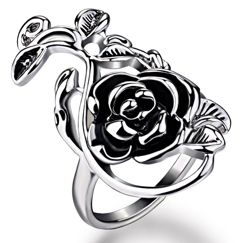 Korean version of the fashion tide female exaggerated personality rose ring flower hollow hollow carved oil painting oil ring