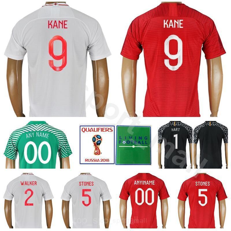 af06f6d718 Compre Inglaterra Jersey De Futebol 2018 Copa Do Mundo 9 KANE 10 ESTERLING  Camisa De Futebol Kits Homem 14 WELBECK 5 PEDRAS 2 WALKER Branco Vermelho  ...