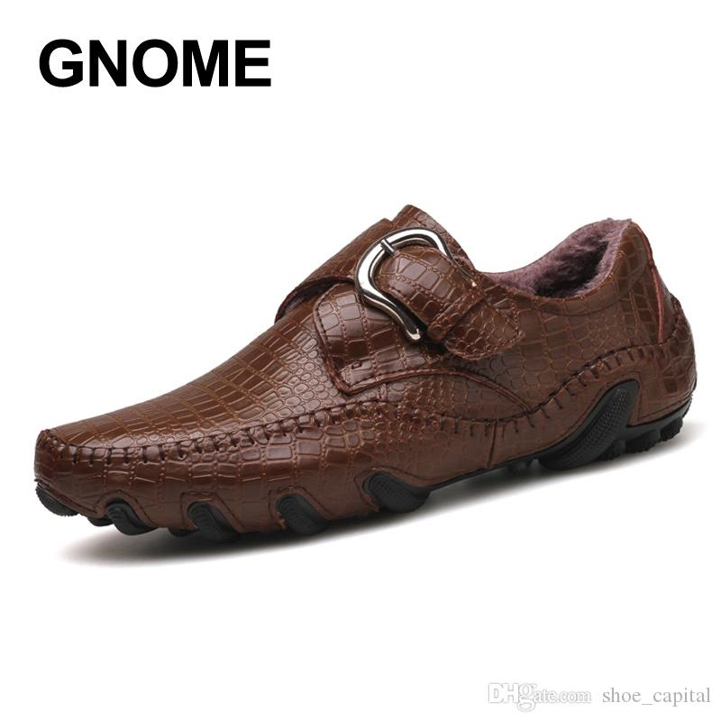 d71a002e46c GNOME Big Size Slip On Crocodile Men Shoes Winter Fur Men Loafers Real Leather  Shoes Moccasins Italian Driving  55160 Loafers For Men Red Shoes From ...