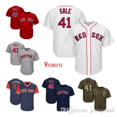 best website 8015b ea4a1 Womens Boston Red Sox 41 Baseball Jerseys Chris Sale Red White Navy Gray  Grey Jersey Green Salute Players Weekend All Star