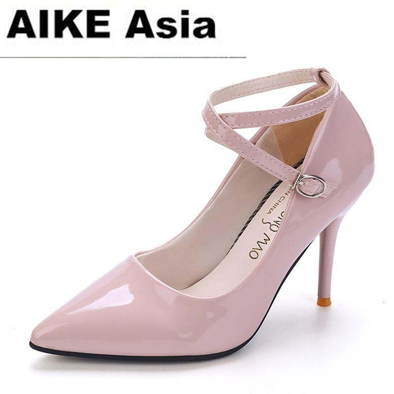 2389a1face2 2019 Dress women shoes wedding high heels women sapato feminino chaussure  femme pumps heel sexy sapatos de salto alto Ankle Strap