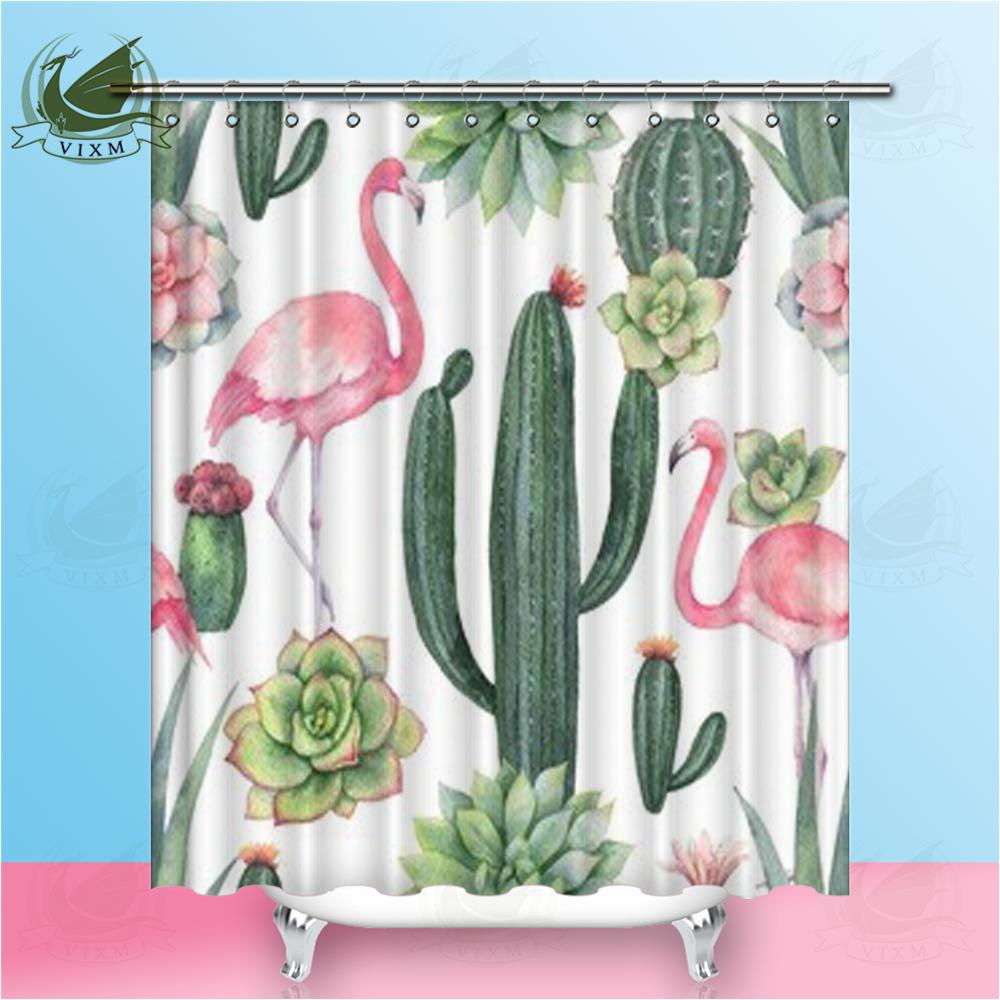 2019 Vixm Pink Flamingo Cactus And Succulents On White Background Shower Curtains Polyester Fabric For Home Decor From Bestory 1665