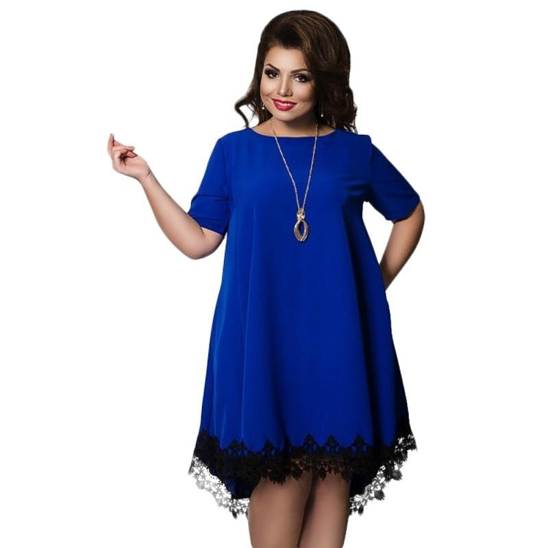 eff5053a83127 Women Large Size Patchwork Tassel Dress 2017 Casual Loose Plus Size Female  Clothing L-6XL Blue Red Chiffon vestidos 2017 Y190117