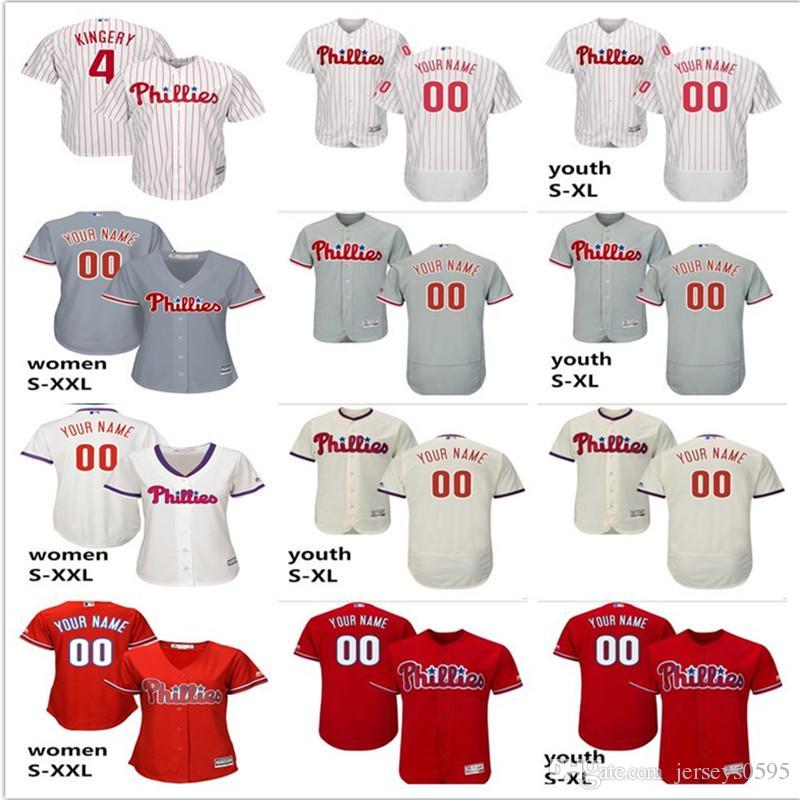 outlet store 4e954 513e9 2019 custom Men s women youth Philadelphia Phillies Jersey #2 JP Crawford 4  Scott Kingery home blue white kids girls Baseball Jerseys