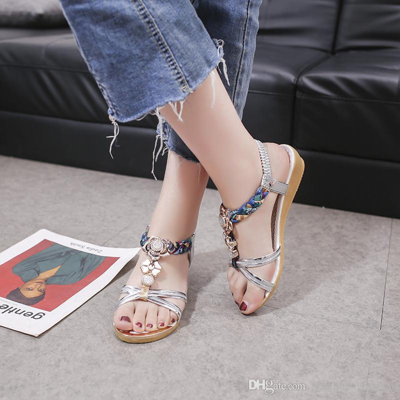 2019 Woman Sandals Women Shoes Rhinestones Chains Thong Gladiator Crystal  Flat Heels Sandals Color Plus Size 35 39 A027 White Sandals Wedge Heels  From ... fed087d73994