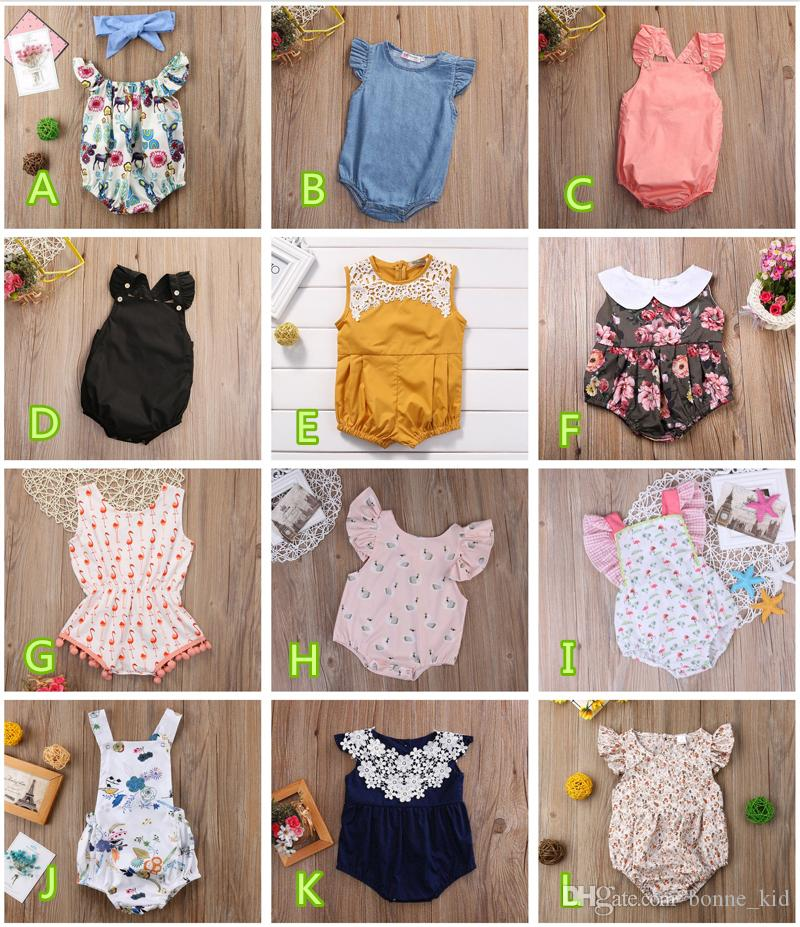 Bodysuits Summer Newborn Baby Girls Floral Romper Jumpsuit Sunsuit Outfits Set Baby Girl Printed Sleeveless Bow Romper Blue Grade Products According To Quality