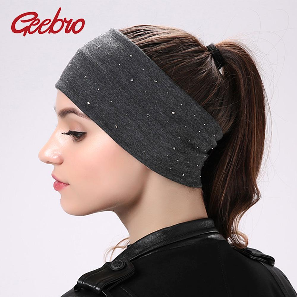 Geebro Women S Rhinestone Elastic Headband Summer Casual Plain Color Black  Cotton Hair Head Band Ladies Flat Headbands Accessory Hair Bands For Women  Hair ... e22f1a831ed