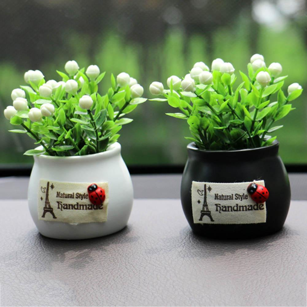 Mini Artificial Flower Pot Car Indoor Ornaments Office Car Decoration Fake Simulative Plants Auspicious Fruit Ceramic Flower Pot