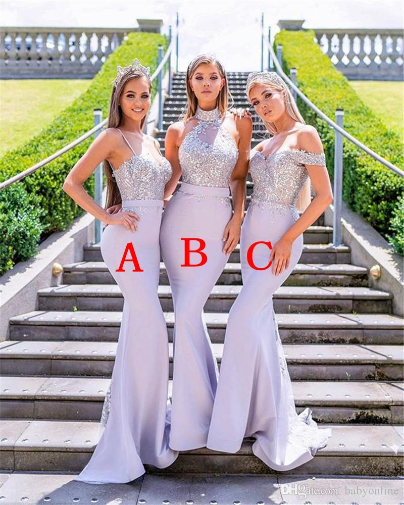 Mixed Styles Mermaid Bridesmaids Dresses For Western Weddings Lace Appliqued Sequins Long Wedding Guest Wears Plus Size Custom Made