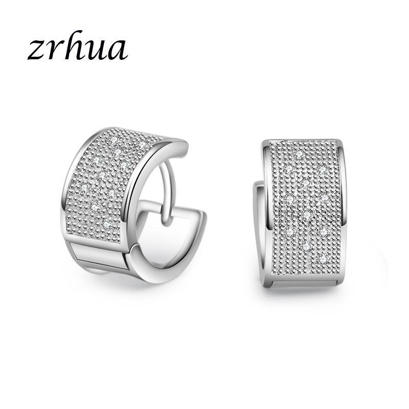 4139d15a5933b ZRHUA Top Sale 925 Sterling Silver Earring Classic Geometric Hoop Earrings  For Women Girls Party Engagement Bridal Jewelry