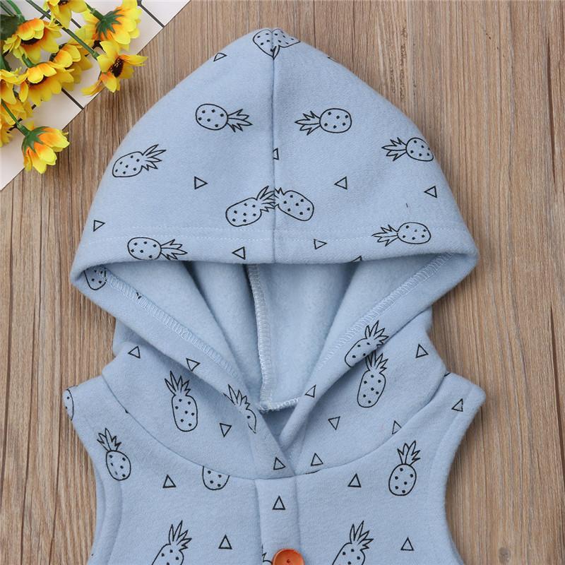 Cute Baby Crianças Boy Girl capuz Romper Impresso mangas Jumpsuit Casual Thicken roupa morna macacãozinho Inverno