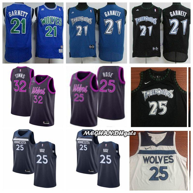 new products 3f65f f6890 Newest 2019 Minnesota Timberwolves Basketball Jersey #21 Kevin Garnett 25  Derrick Rose 32 Karl Anthony Towns Stitched Basketball Jerseys