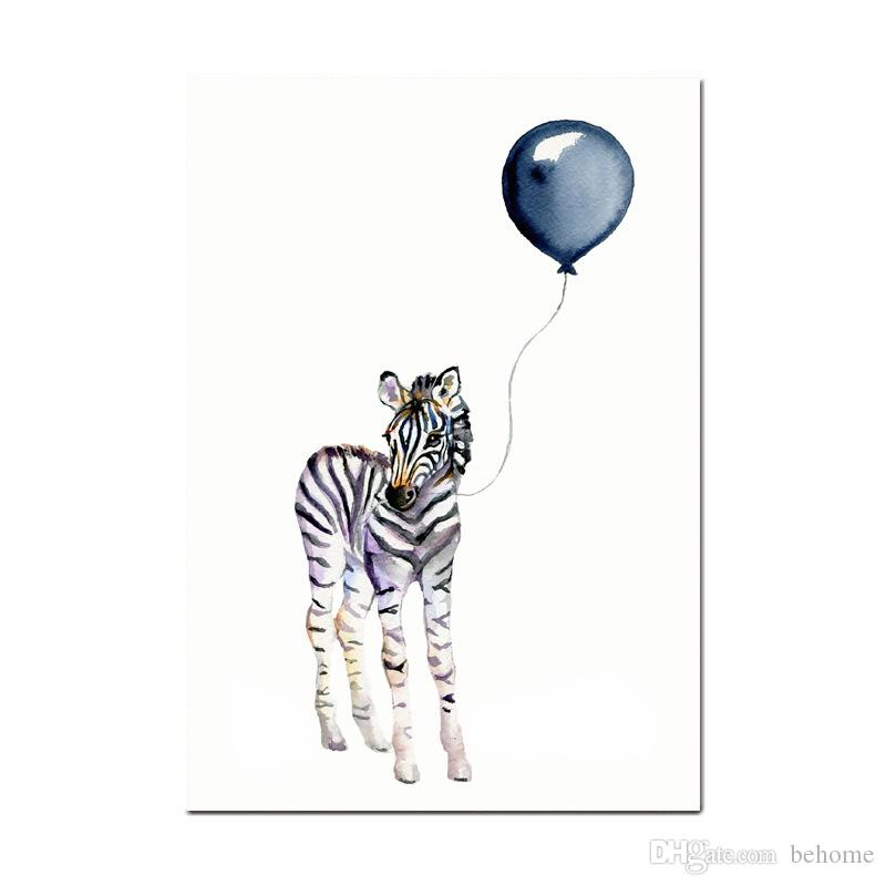 Blow a Balloon Giraffe Zebra Animal Posters Canvas Art Painting Wall Art Nursery Decorative Picture Nordic Style Kids Deco