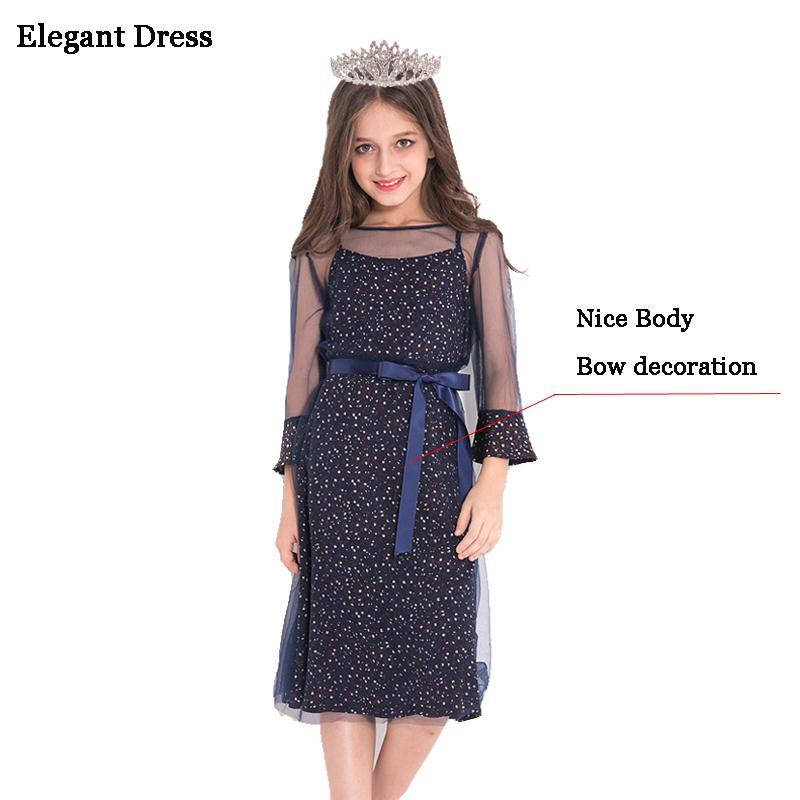 d5850db8 Compre Elegante Vestido Para Niña Ropa Adolescente Las Niñas Vestido De  Fiesta De La Princesa 10 11 12 13 14 Años Niños Vestidos Vestido De Otoño  J190505 A ...