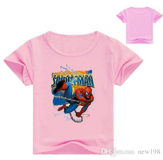 New Children Spiderman Print T-shirt Clothes For Boy Girls Summer Short Sleeve Solid Tee Tops Costume Kid T Shirt Clothing