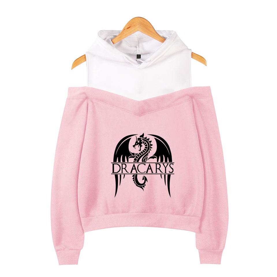 2019 USA playplay Sweat-shirt à capuche Dracarys impression hip-hop casual femmes à manches longues sans épaule Hoodies Plus la taille