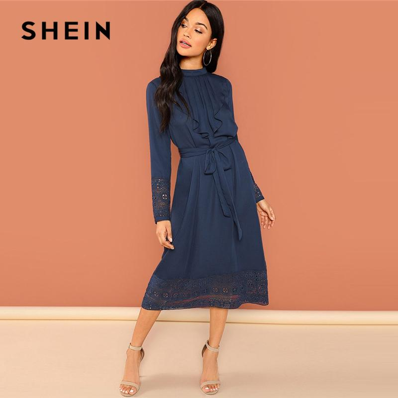 d1f5954606 2019 SHEIN Navy Going Out Weekend Casual Pleated Ruffle Lace Trim 2018  Autumn Long Sleeve Elegant Dress Women Dresses Q190423 From Tai01, $32.47 |  DHgate.