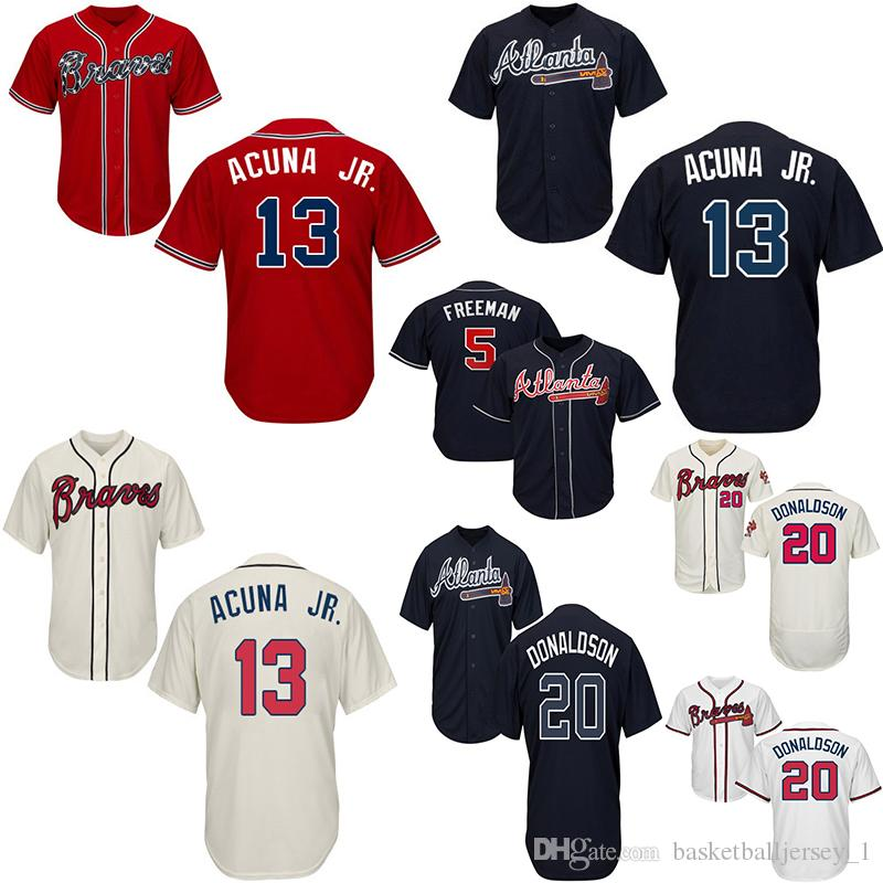 sneakers for cheap e0dec ddf42 Atlanta Baseball Jersey Braves Ronald 5 Freddie Freeman 13 Ronald Acuna Jr.  20 Josh Donaldson Customed Jeseys