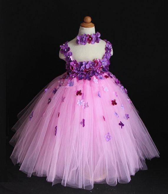 745cf20bd Nuevas flores para niñas Vestido de tutú de crochet para niños, de color  rosa mullido Tul Tutus Vestido de fiesta con correas de encaje y diadema ...
