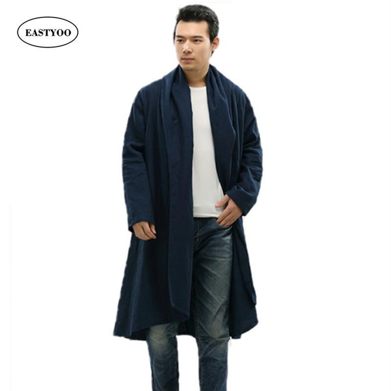 separation shoes 682ab 73d63 Trench lungo nero da uomo inverno 2017 giaccone di lana collo di trincea  allentato giacche casual inverno cappotto maschile