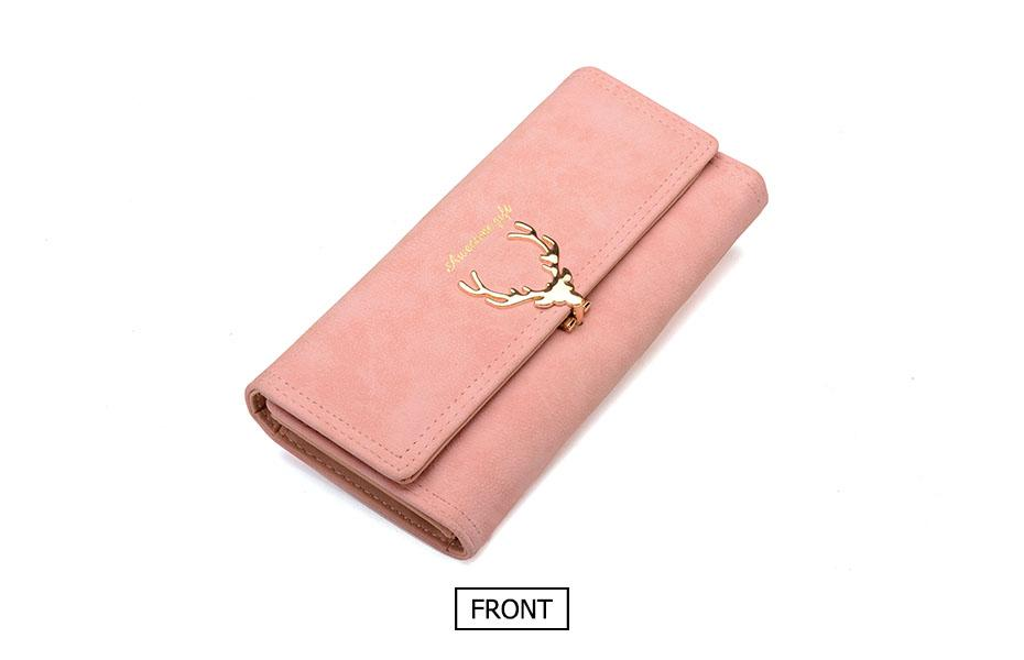 Women Wallet Card Wallet Female Purse Leather Trifold Long Coin Holder Phone Wallet Metal Christmas Deer Cash Pocket Fashion