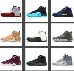 quality design b1751 d1135 12 12s Men Basketball Shoes Michigan Bulls College Navy UNC NYC Vachetta Tan  Wheat Dark Grey Bordeaux Wings Flu Game Mens Sports Sneakers Shoe Sneaker  Woman ...