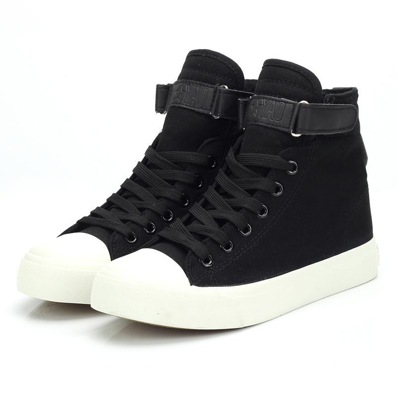 2d35e5663827 Women Canvas Shoes High Top Lace Up 2019 New Fashion Female Casual Sneakers  Shoes Leisure Breathable Black White Woman Sneakers Platform Shoes Hiking  Shoes ...