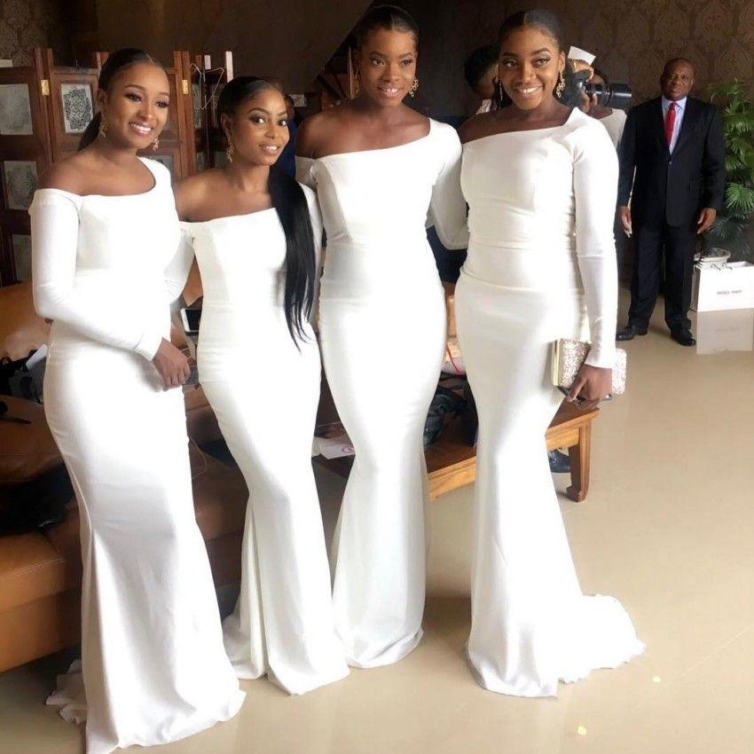 7f00e2f200f1 2019 New Elegant Off Shoulder Mermaid Bridesmaid Dresses Black Girls Floor  Length Long Sleeves Maid Of Honor Gowns Plus Size BM0380 Lilac Bridesmaid  Dresses ...