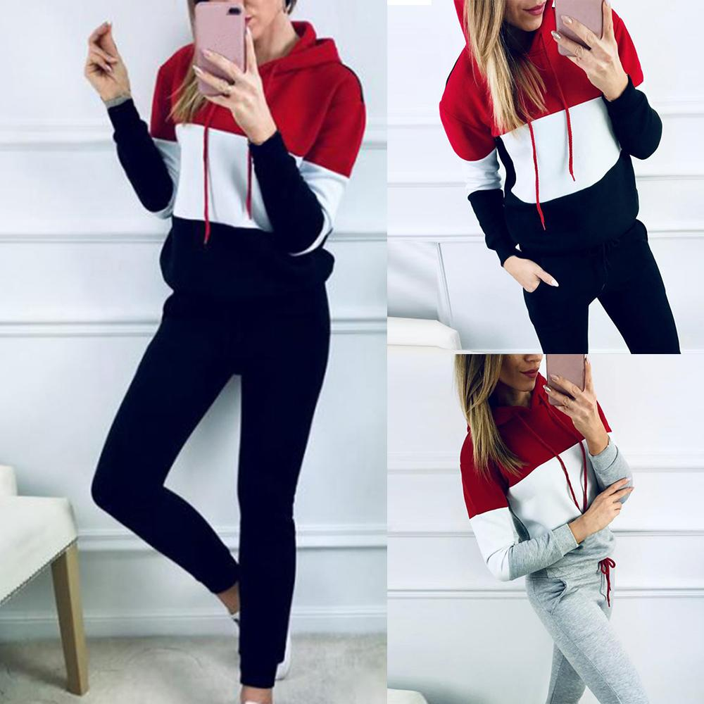Autumn Sportwear Suit Set 2 Piece Hoodies Sweater Pullover Drawstring Elastic Waist Pants Set Patchwork Causal Tracksuit Sets