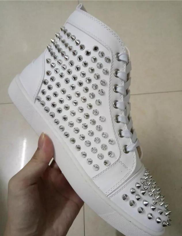 2019 Sell Name Brand Red Sole Black Sneaker Shoe Man Casual Woman Fashion Rivets High Top Mens Dress Party Cheap Sneaker Designer Shoes #987
