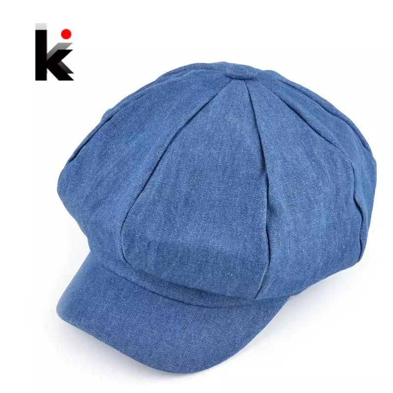 3ee0739a95b400 2019 Popular Design Newsboy Caps Womens Fashion Washed Denim Casual Hat  Octagonal Cap Autumn And Winter Beret Hats For Women From Redstar080, ...