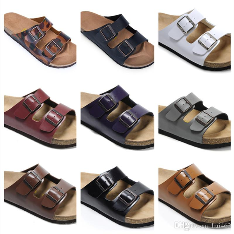 820c8984c0ae1 Fashion Mens Flat Sandals Women Shoes Double Buckle Famous Brand Arizona Summer  Beach Top Quality Genuine Leather Slippers With Orignal Box Reef Sandals ...