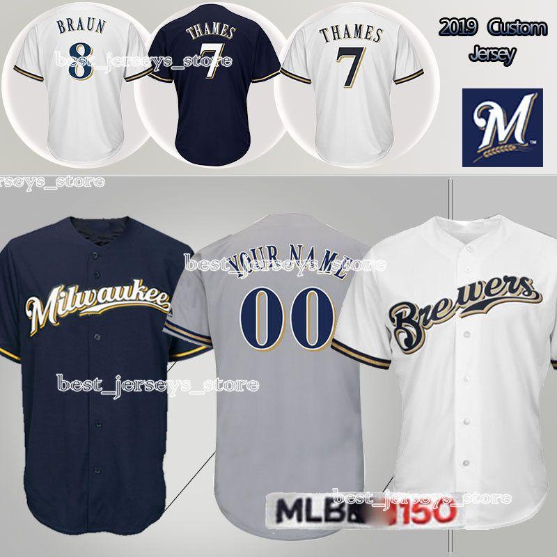 save off cb3e6 c0da4 customized Baseball Jerseys Milwaukee / Brewers 19 Robin Yount 22 Christian  Yelich 8 Ryan Braun Jersey 2019 New hot selling