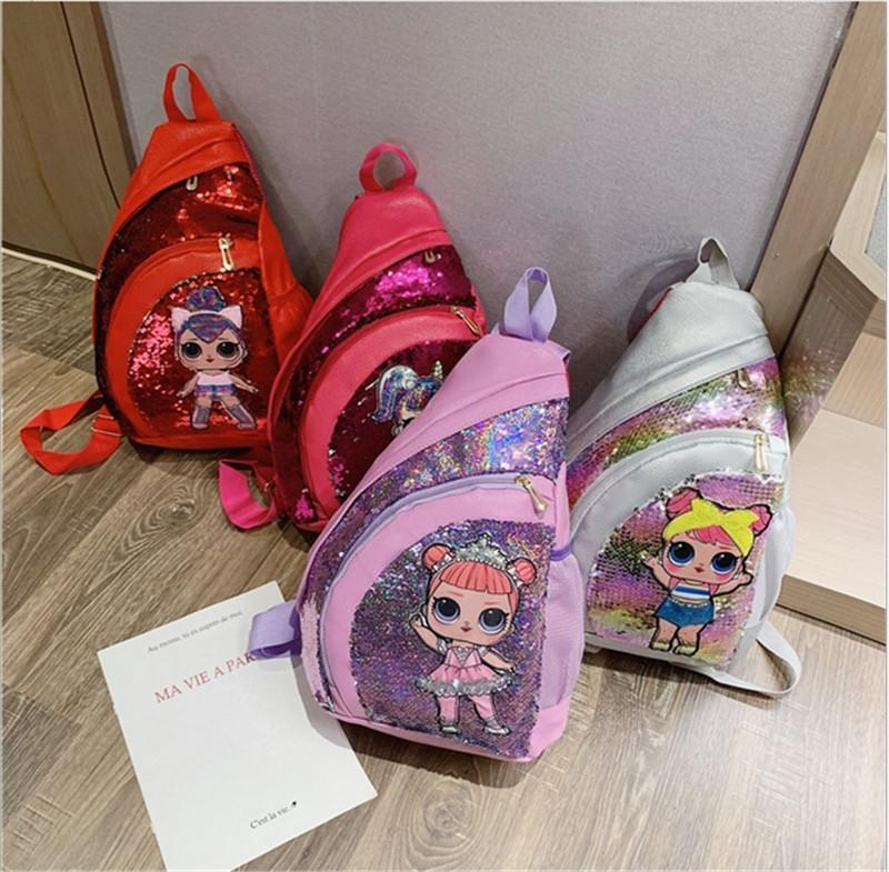 Ins Surprice Girls Chest Bag Sequins Kids Crossbody One-shoulder Bag Cartoon Schoolbags Mini Fanny Pack Book Packs Sports Totes B72401
