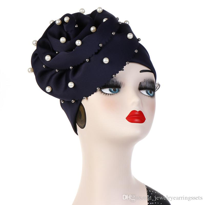 Women Stretch Cotton Flower Pearl Turban Hats Cancer Chemo Beanies Cap Hijab Pleated Wrap Head Cover Hair Accessories