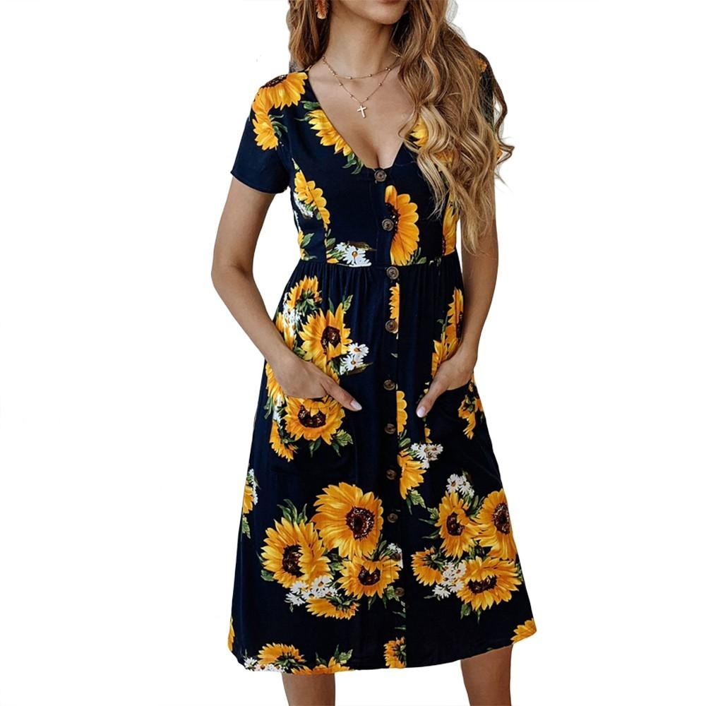 58a22d034 ... Sunflower Printing Short Sleeve Buttons Pocket Casual Loose A Line  Summer Dresses Pretty Long Dresses For Juniors Dress Style For Women From  Edward03, ...