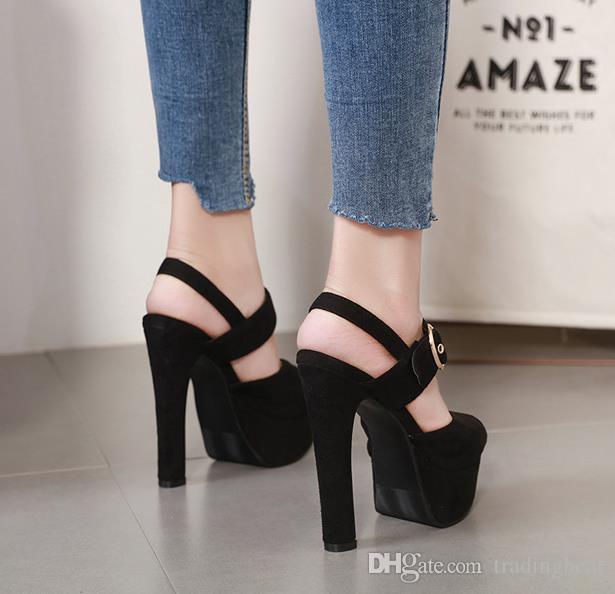 cómoda ante negro hebilla del talón grueso sandalias de diseño zapatos de diseño de plataforma de verano 14.5cm Tamaño 34 a 39 tradingbear