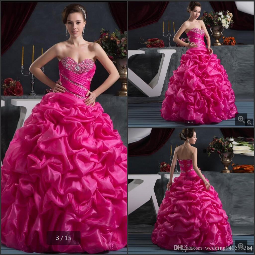 2cd2e64cd88 Romantic Hot Pink Beading Ruffles Taffeta Prom Dress 2019 Pick Ups Bubble  Prom Dresses Sweet 16 Strapless Pleated Prom Gowns Short Formal Dresses  Unique ...
