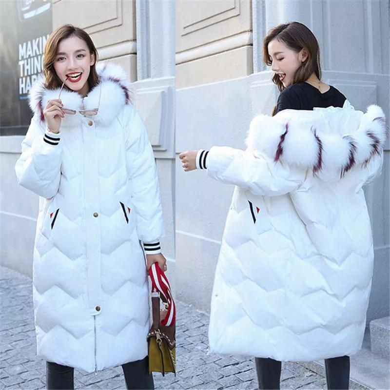 79219ed47b6 2018 Office Lady Winter Warm Down Coat Women Fox Fur Long Length ...