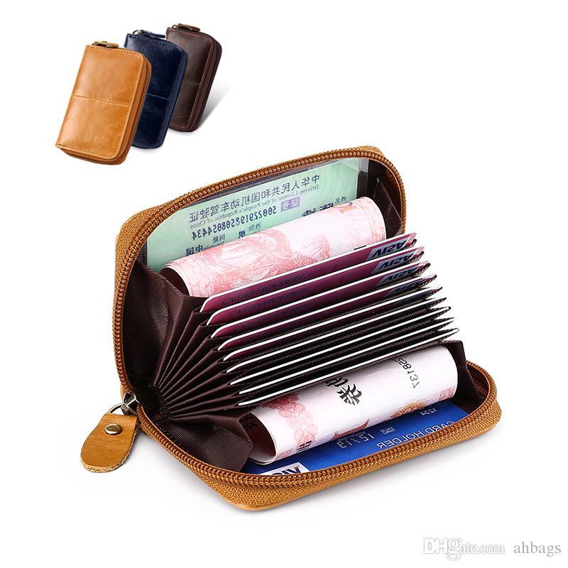0644465d240a Certificate Bag Card Clip Credit card purse Leather clip top cowhide  Three-storey Men's Retro Wallet