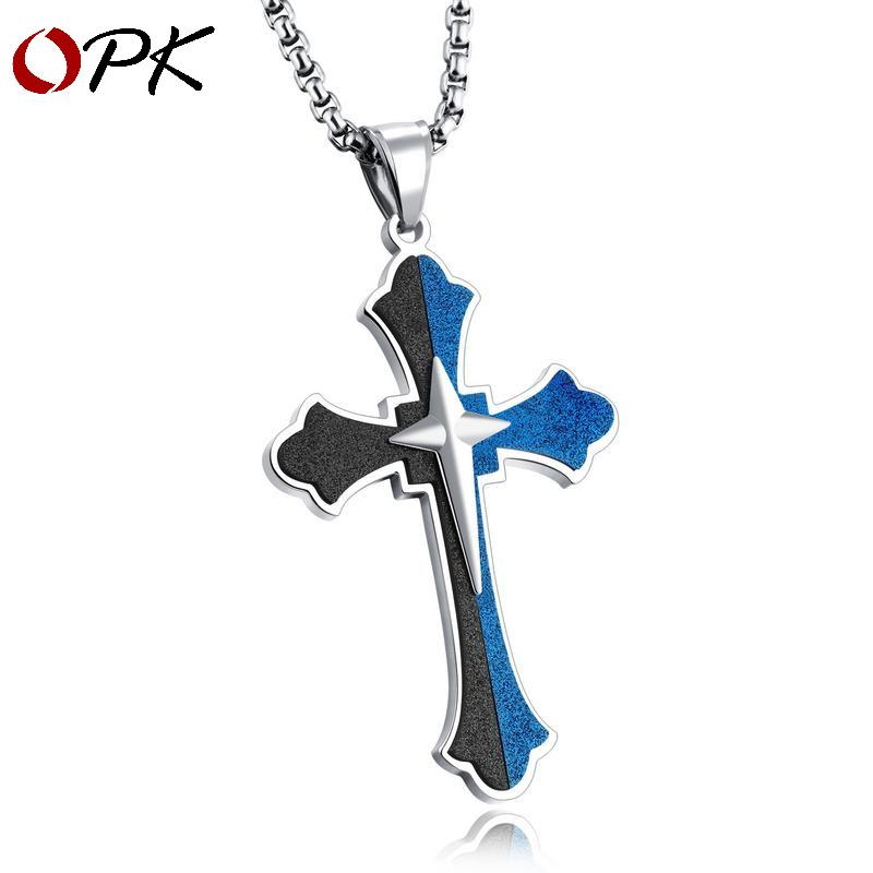 OPK European and American Stainless Steel Jesus Necklace Retro-polished Titanium Steel Cross Men's Hanging Jewelry