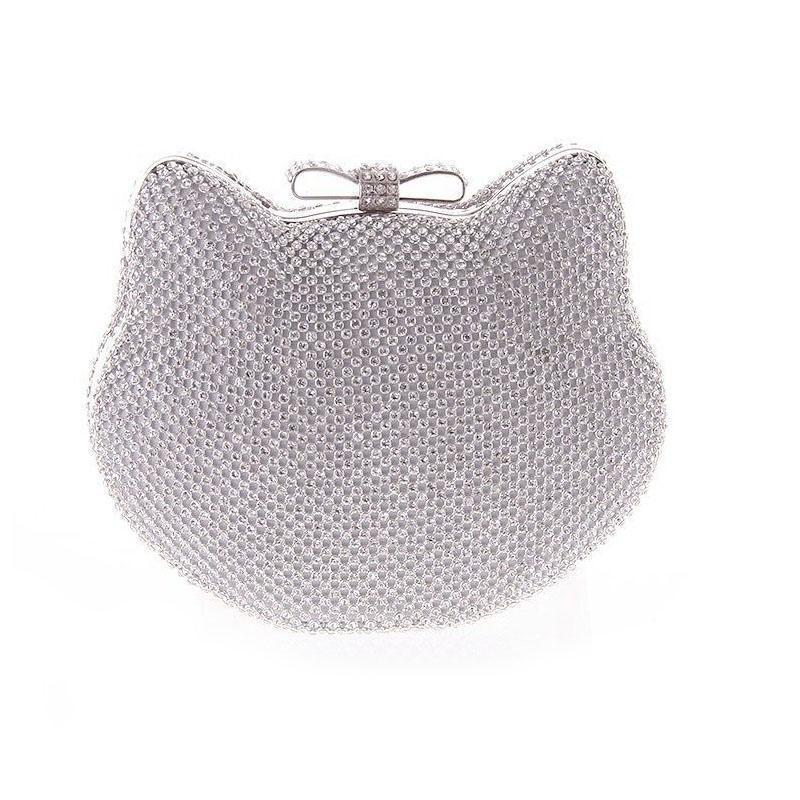 Nice Crystal Evening Purse Purses Cute Cat Kitty Silver Gold Rhinestones  Clutches Wedding Party Clutch Small Bags For Girls XA858A Branded Handbags  Clutches ... d8141484c6628
