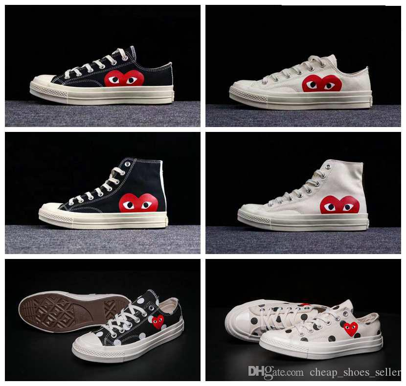 e3b890adc5d5 2019 Chaussures All Stars Shoes CDG Canvas Big Eyes Hearts Beige ...