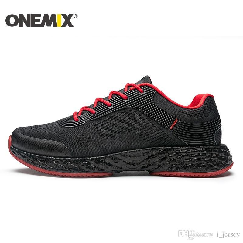 sneakers for cheap bb20e ef826 Compre Zapatillas De Running Para Hombre Onemix Para Hombre Malla De Aire  Negro Suela Cojín Diseño Transpirable Zapatillas De Deporte Para Correr  Deporte Al ...