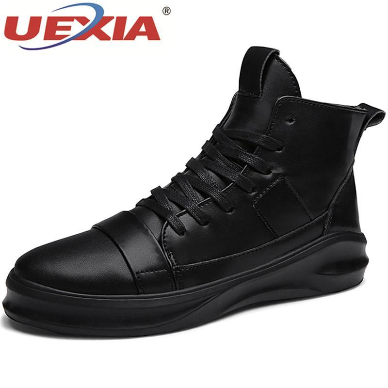 82da13128 Compre UEXIA Otoño De Alta Calidad De Cuero Hombres Caminando Botines  Martin Botas Zapatos Masculinos De Trabajo Al Aire Libre Calzado De Lujo De  Calidad ...