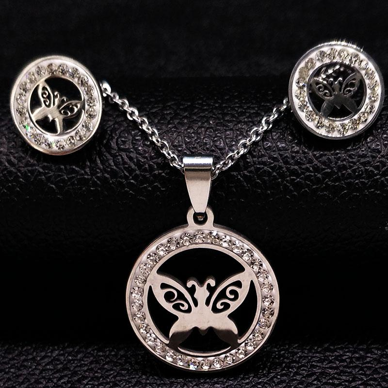 2018 Butterfly Stainless Steel Jewelry Sets Women Silver Color Earrings Necklace Set Crystal Jewelry accesorios mujer S178350