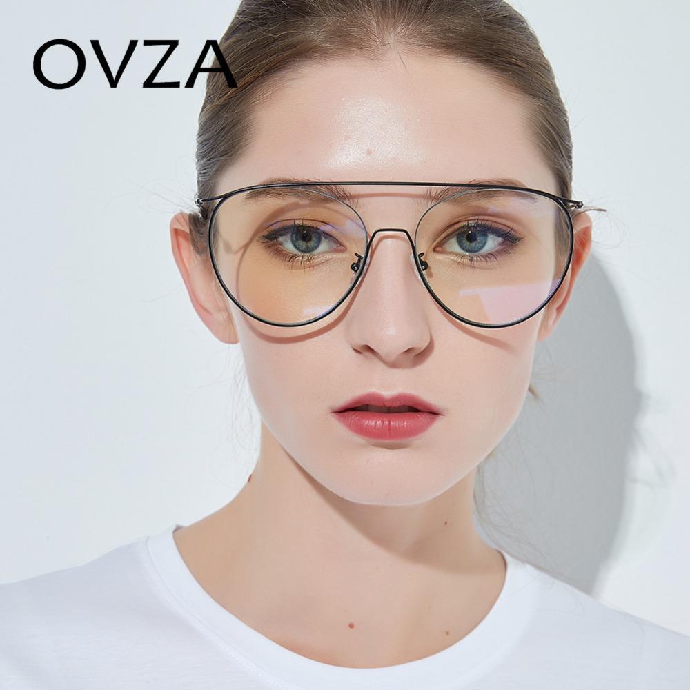 Compre OVZA Oversized Óculos De Armação Para As Mulheres Lente Transparente  De Metal Oval Óculos Moldura Homens Moda Projetada S6028 De Marquesechriss,  ... 05890092d5