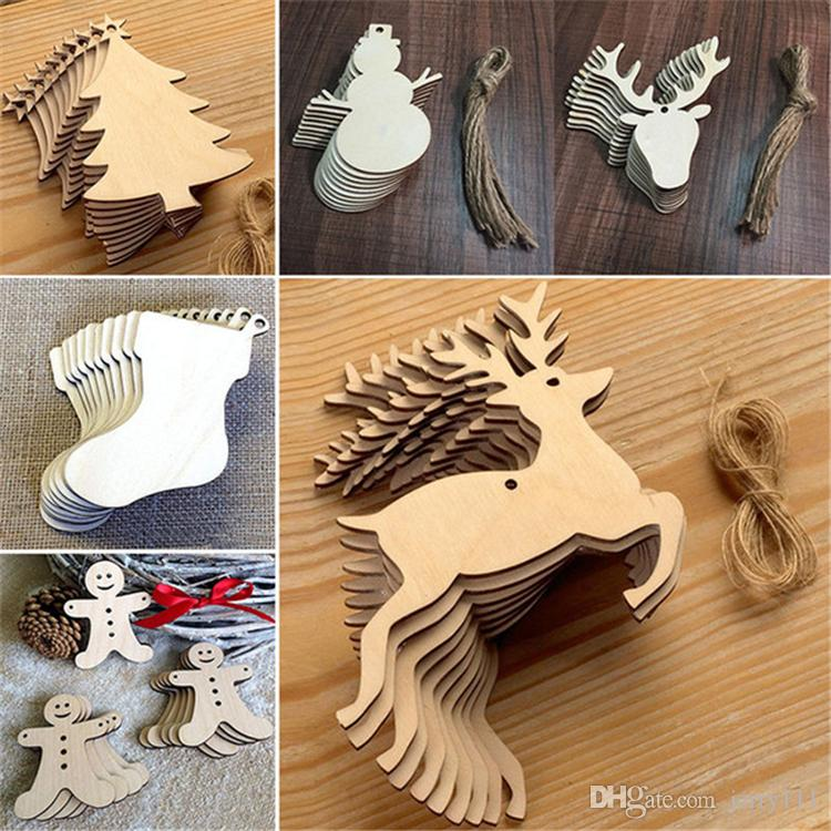 10 pcs/Lot Christmas Tree Ornaments Wood Chip Snowman Tree Deer Socks Hanging Pendant Christmas Decoration Xmas Gift Crafts FJ433