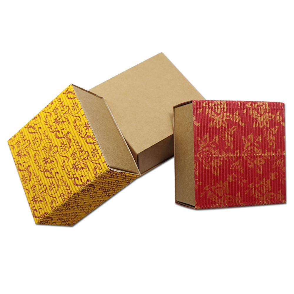 30pcs Colored Corrugated Paper Box Drawer Paperboard Floral Printed Gift  Candy Tea Packaging Wedding Gold Red 7 2*7 2*3 8cm free shipping
