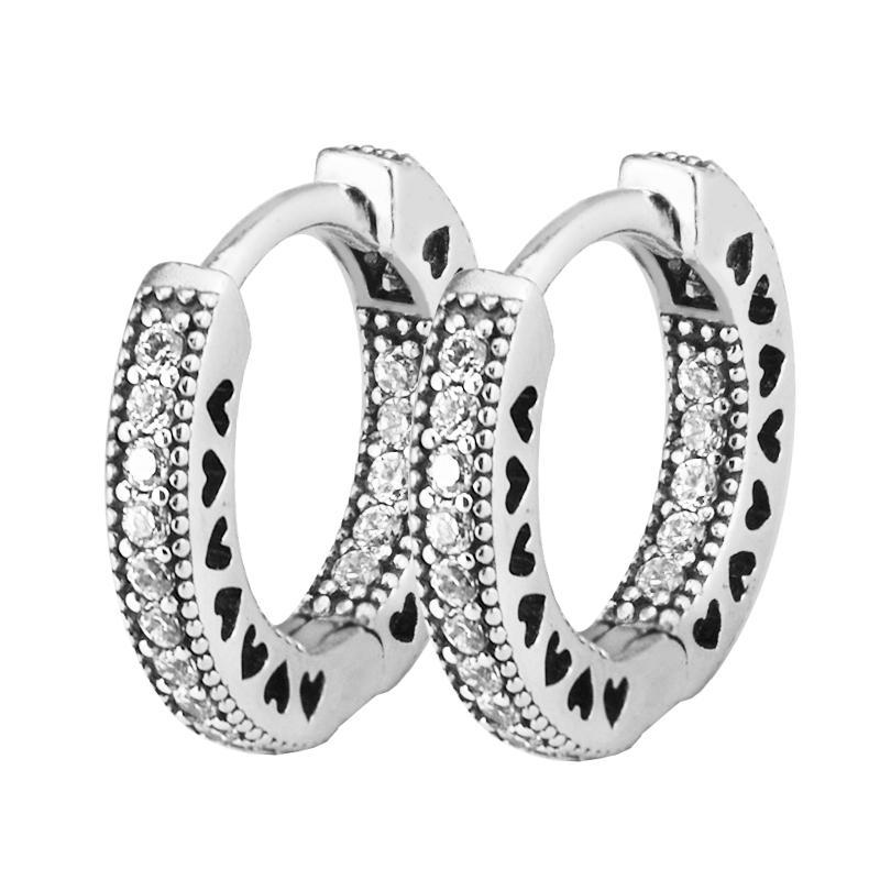 1145118a0ba5 Hearts Of Brand Hoop Pendientes de Plata 925 Joyas Clear Cz Pendientes Para  Mujeres Joyería de plata esterlina 15mm Promoción Y19052401